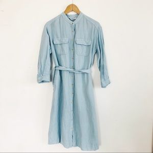 Zara chambray denim blue dress medium button